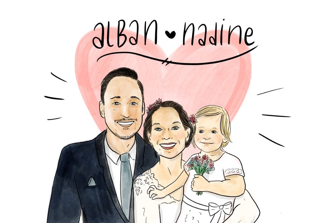 Portrait of bride and groom with their daughter